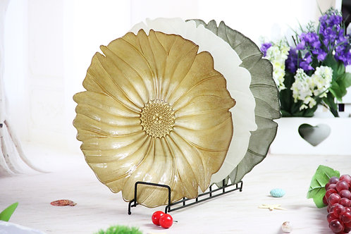 AYZ 24005 13'' Lotus Leaf Glass Charger Plates Gold/Jade/Ink