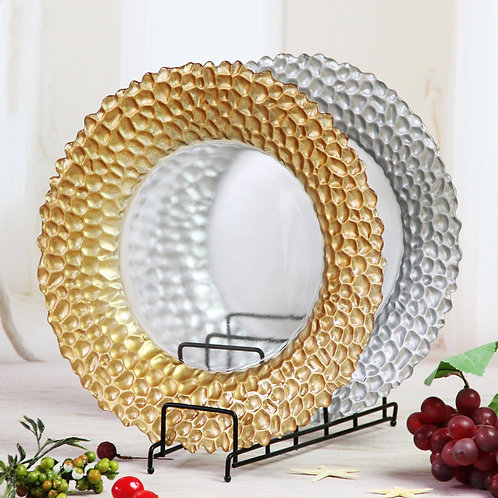 AYZ 24009 13'' Daphne Round Glass Charger Plates Gold/Silver