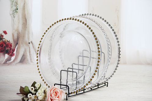 AYZ 24001 13'' Round Beaded Glass Charger Plates Golden/Silver/Crystal
