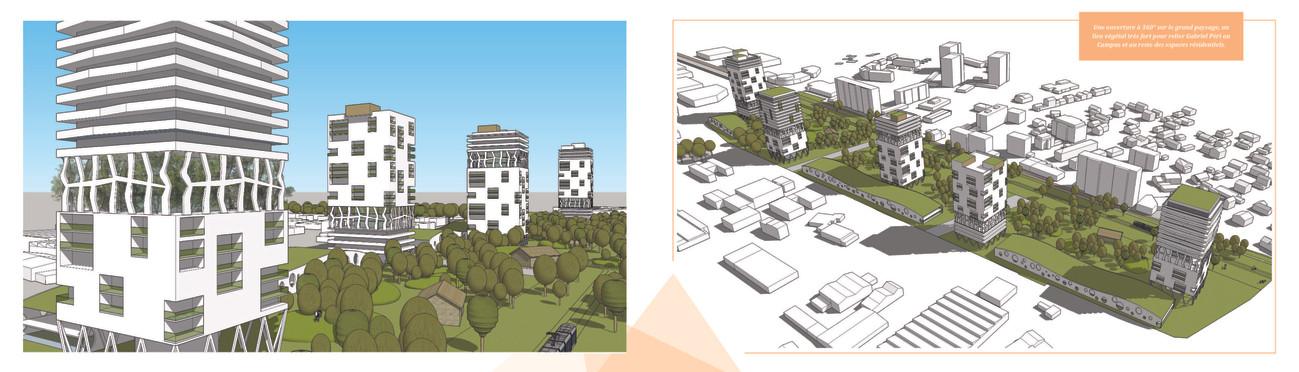 Une ouverture à 360° sur le grand paysage, un lien végétal très fort pour relier Gabriel Péri au Campus et au reste des espaces résidentiels.