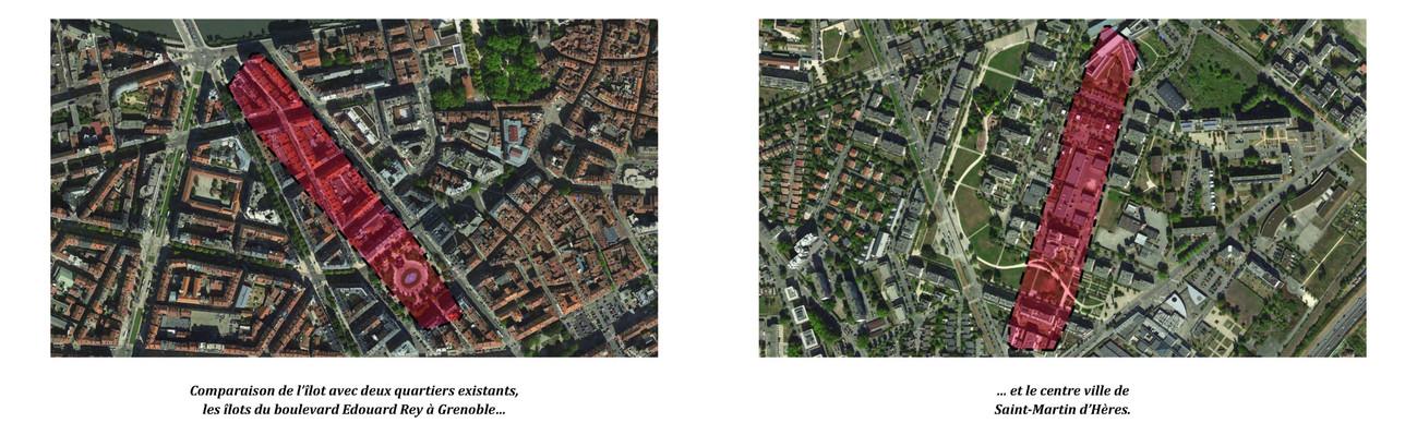Comparaison de l'îlot avec deux quartiers existants, les îlots du boulevard Edouard Rey à Grenoble… et le centre ville de Saint-Martin d'Hères.
