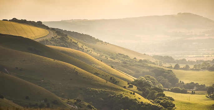 Devil's Dyke at the golden hour, West Su