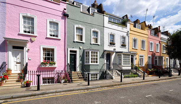 London street of terraced houses without