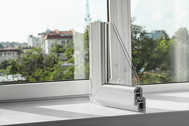 Sample of modern window profile on sill.