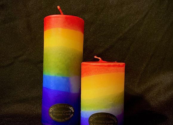 Rainbow pillar candle