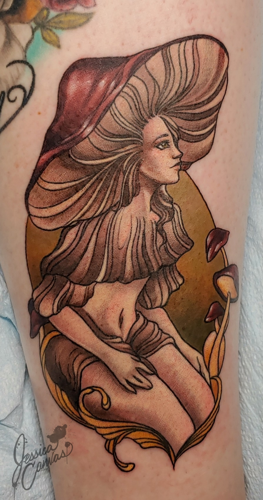 Mushroom Girl Flash Tattoo_