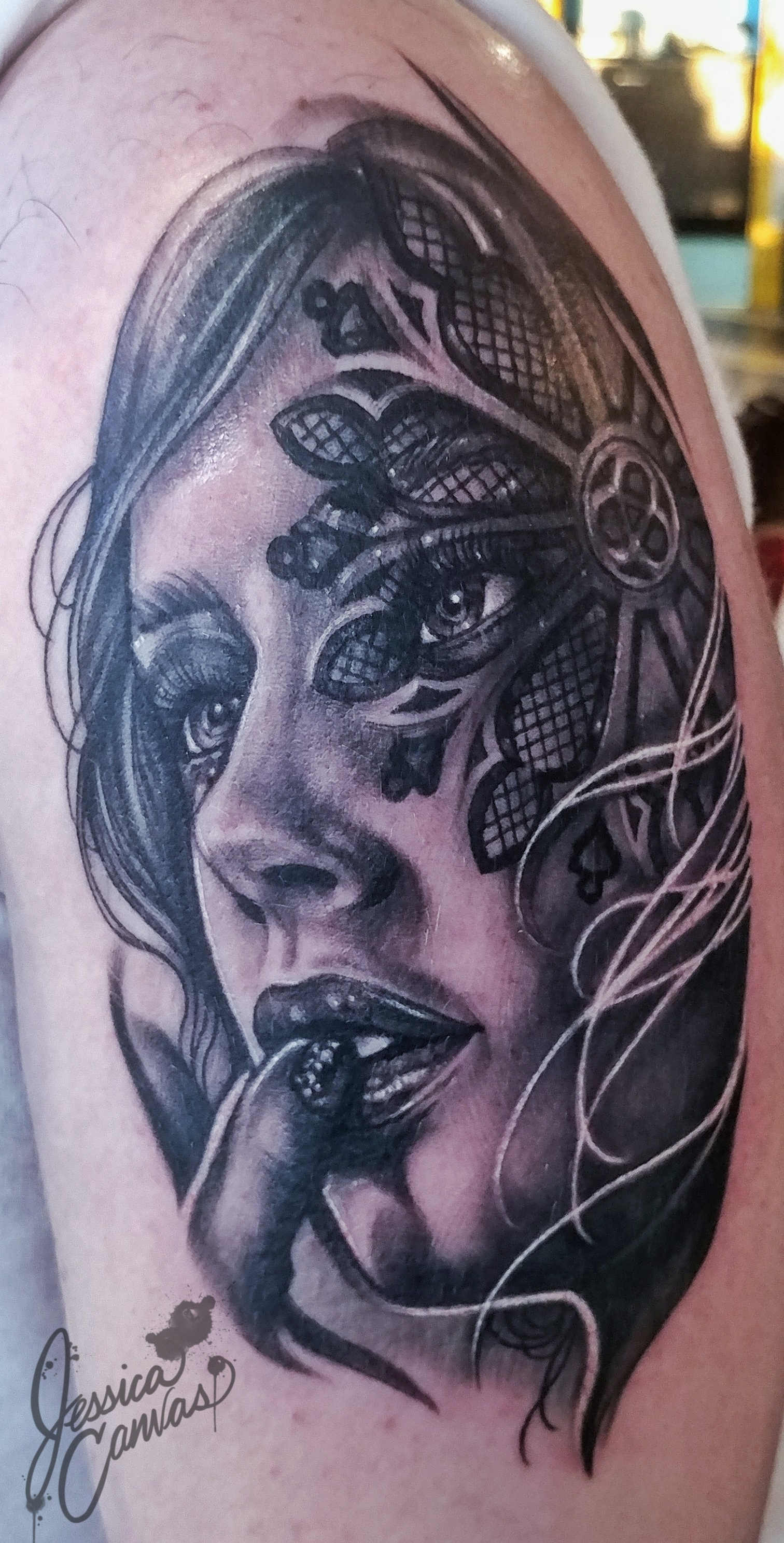 Cathedral Woman Head Black and Grey