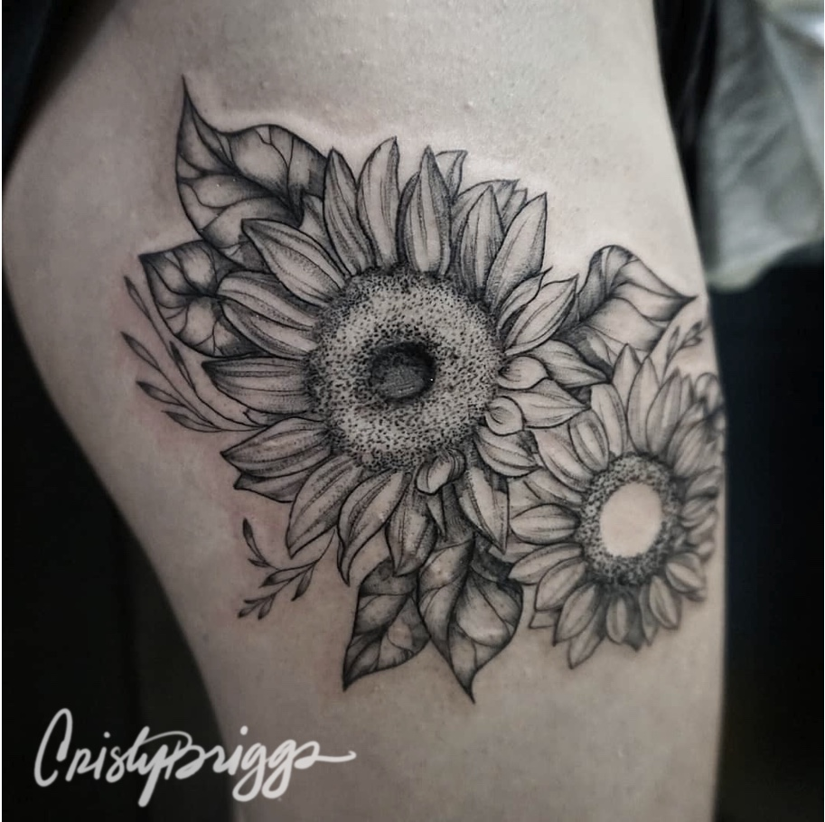 Blackwork sunflowers