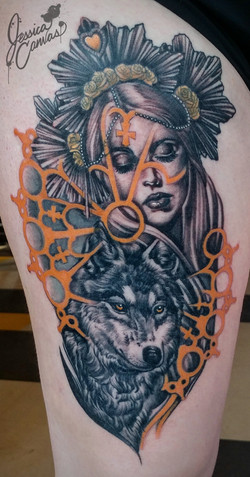 Cathedral Wolf Woman Color Infused Black