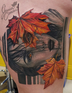 Autumn Lady Color Infused Black and Grey