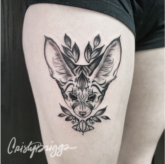 Blackwork fennec fox with design detail.