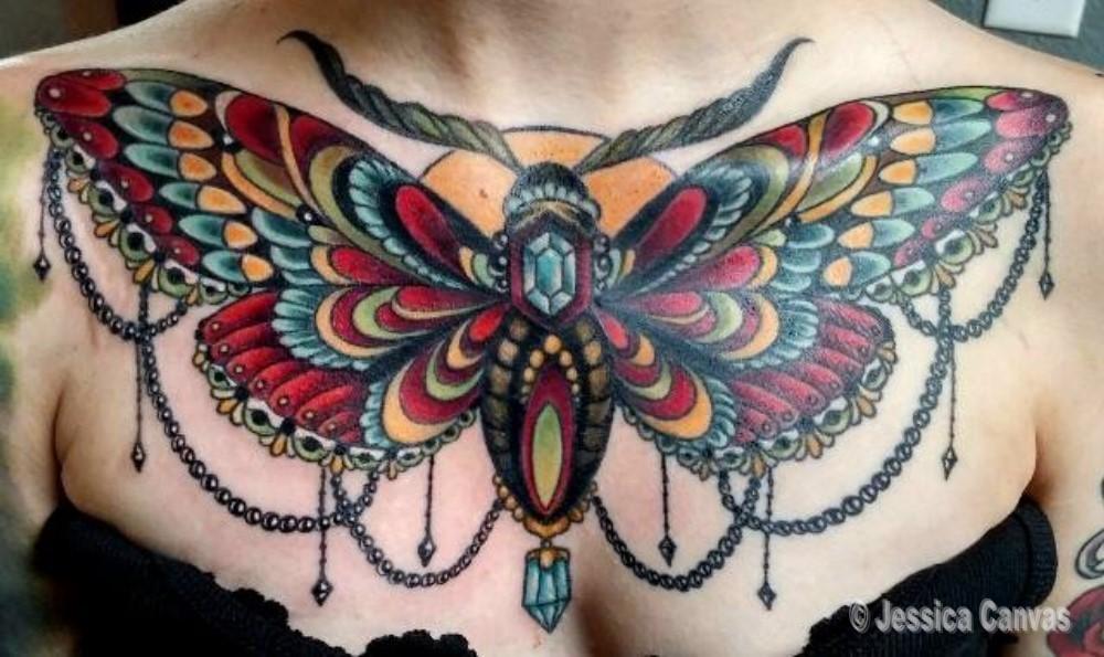 Jeweled Moth Chest Piece
