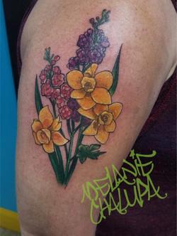 Colored, Floral, upper arm shoulder cap_