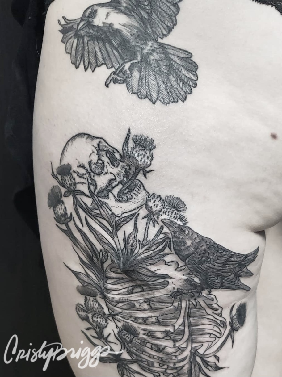 Blackwork skeleton and crows