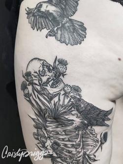 Blackwork skeleton and crows