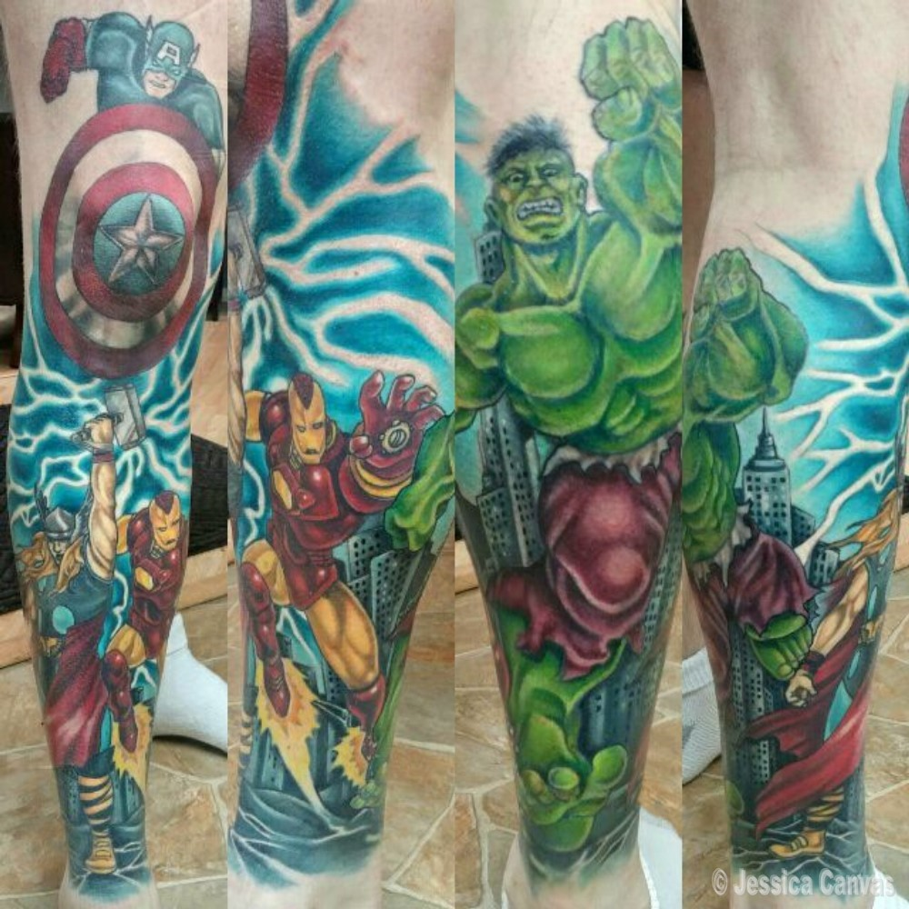 Marvel Leg Sleeve - Hulk - Captain America - Thor - Iron Man