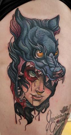 Blood Witch Inktober Flash Wolf Head