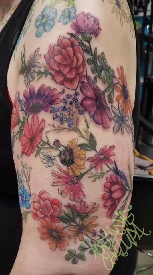 Colored Wildflowers_ Floral Half Sleeve.