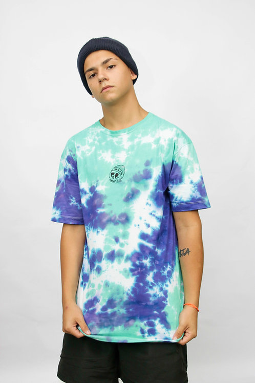 CAMISETA TIEDYE SKULL GREEN WATER