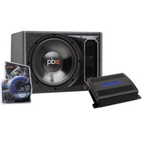 """PowerBass Autosound - 12"""" Single Enclosure, Amplifier & Amp Kit Bundle (PSWB121/"""