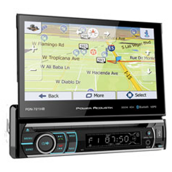 Power Acoustik - 7-Inch LCD Screen 1DIN DVD, CD/MP3 Car Stereo with iGo GPS, Blu