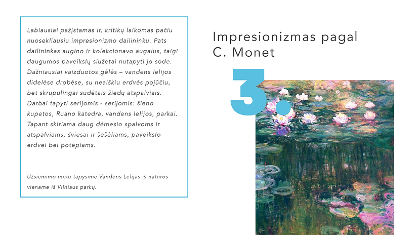 Impresionizmo kursai. Monet