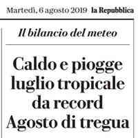 La Repubblica ed. Milano, 6 agosto 2019