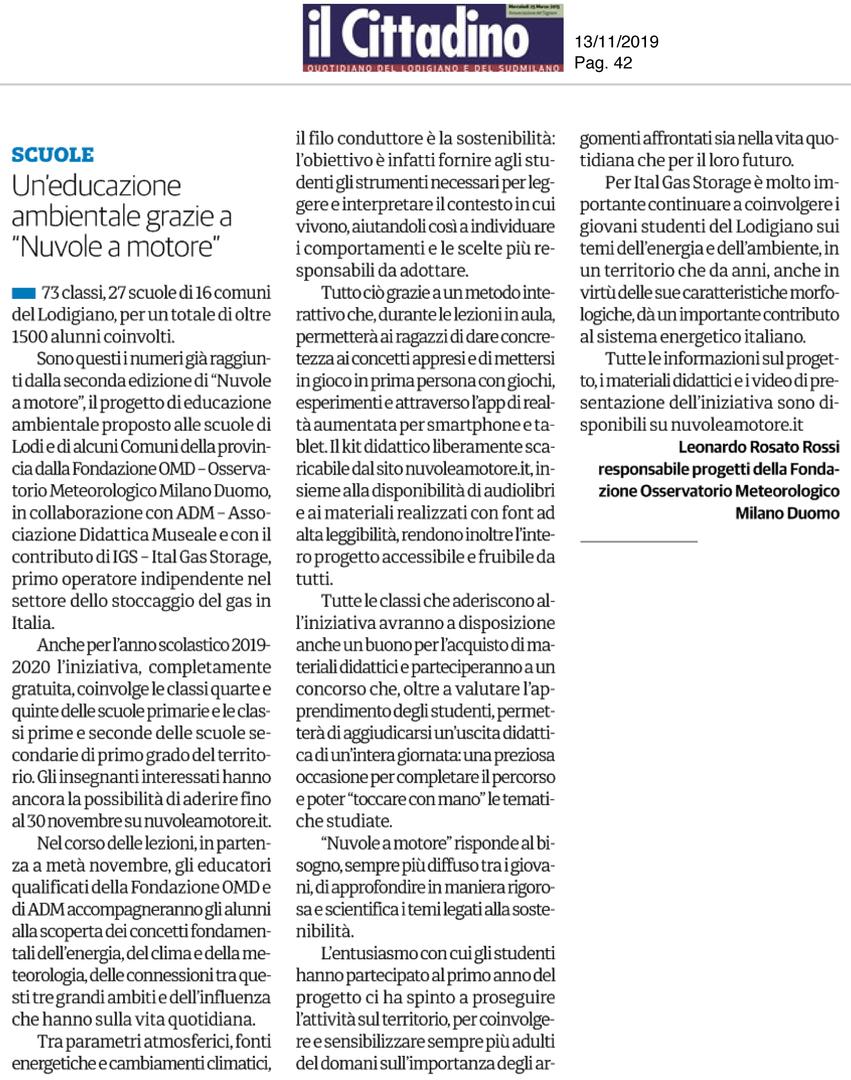 Il Cittadino, 13 novembre 2019