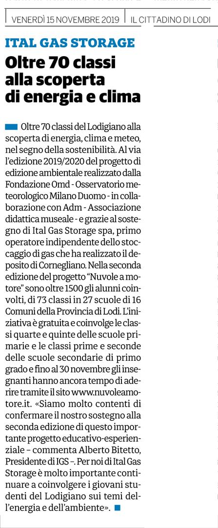 Il Cittadino, 15 novembre 2019