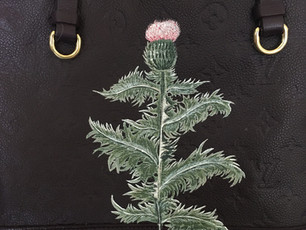 Plum colored Louis Vuitton tote hand painted with thistle, after barbara regina dietzsch