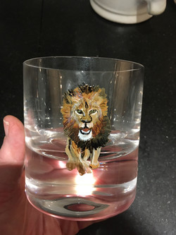 old fashioned glass hand painted with a lion, paint is top rack dishwasher safe