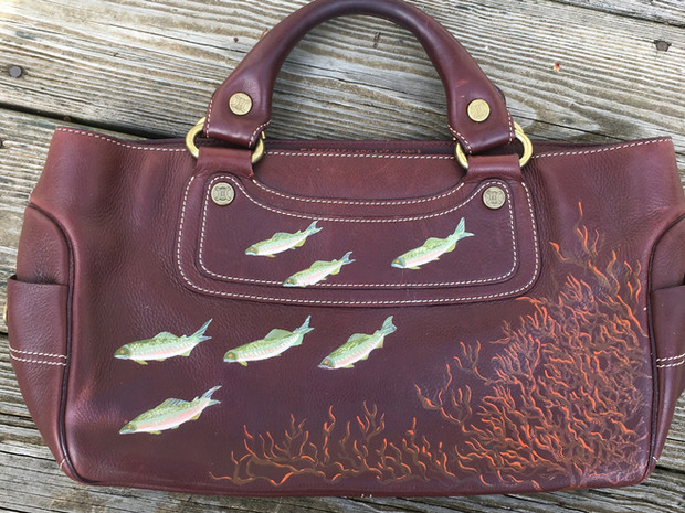 Celine bag hand painted with fish and coral, after 19th c japanese painting