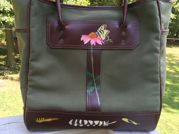 Canvas and leather tote hand painted with echinacea, butterly and various feathers