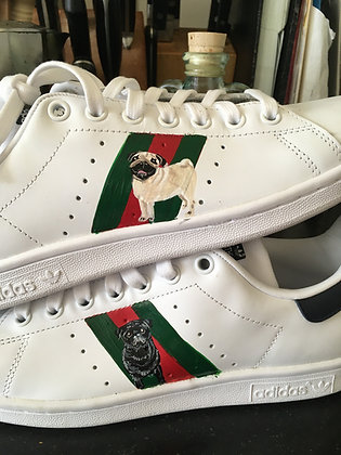 Stan smiths hand painted with stripes; client supplies the sneakers