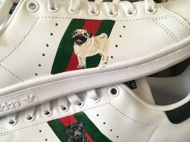 Stan smiths hand painted with stripes and 2 pugs
