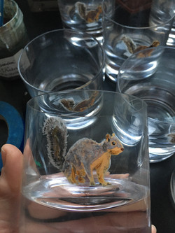old fashioned glass painted with squirrel. paint is top rack dishwasher safe