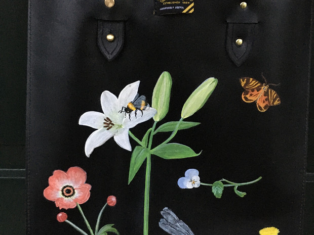 Beebe Co. leather tote painted with flora and fauna