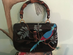gucci classic patent leather handbag painted with chinoiserie pheasant on leafy branch