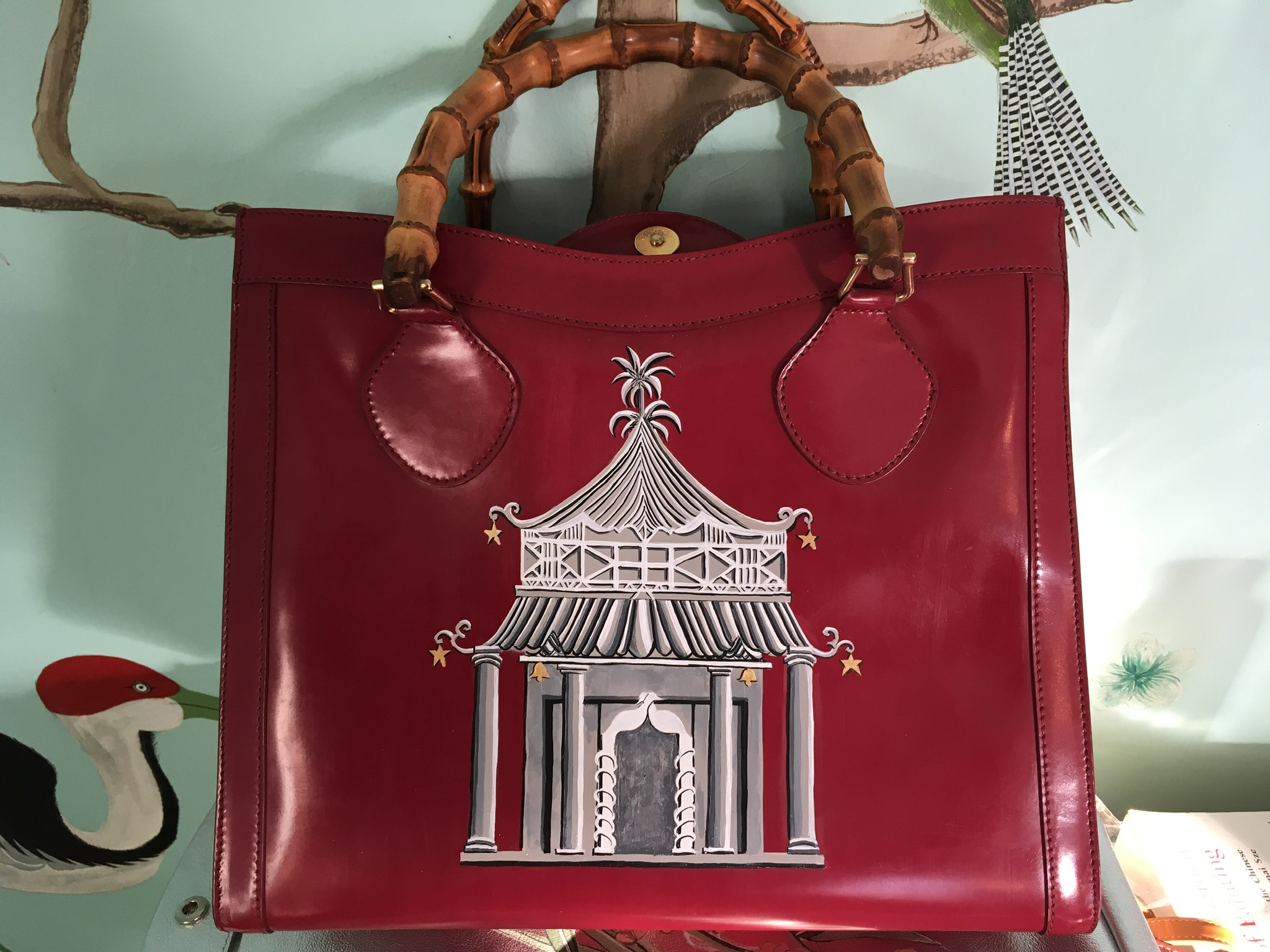 gucci diana leather handbag hand painted with grisaille chinoiserie pagoda