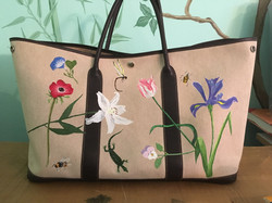hermes garden party bag hand painted with flora, fauna and insects