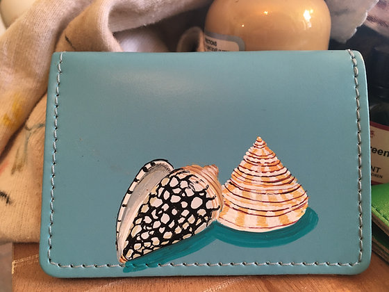 Leather card case hand painted