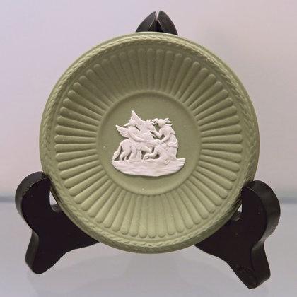 Wedgwood Green Round Dish w/Pegasus
