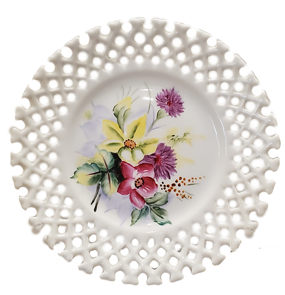 Lattice Bordered, Hand-Painted Flower China Plates (set of three)