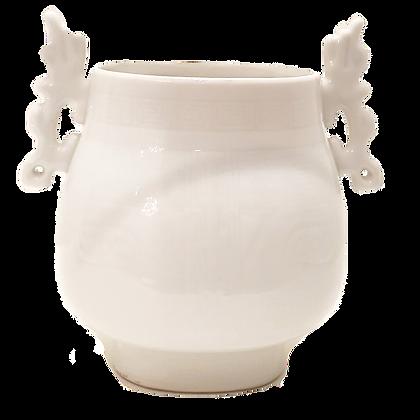 White Vase w/Dragon Handles