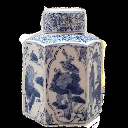 Blue & White Hexagonal Ginger Pot/Tea Caddy