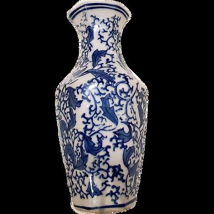 Blue & White Hex Wall Vase