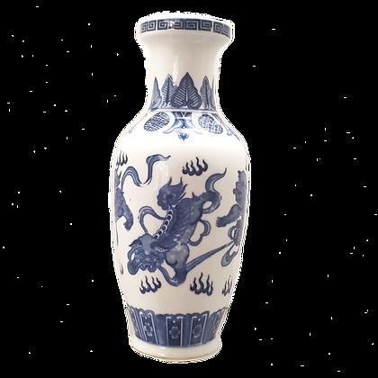 Blue & White Foo Dog Vase