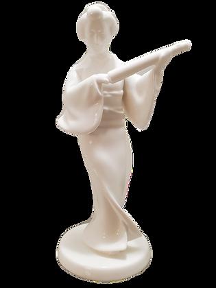 Noritake Bone China Geisha Figurine w/Parasol 1940s Nippon Toki Kaisha