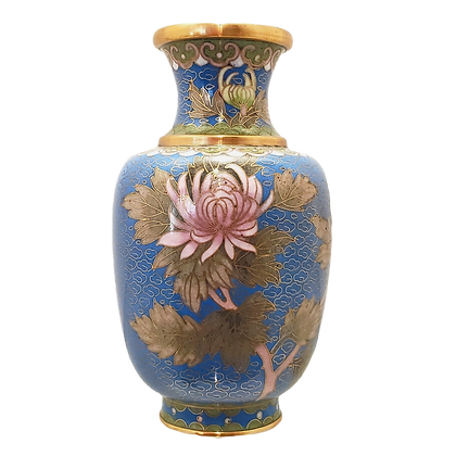 Cloisonne French Blue Chrysanthemum Vase