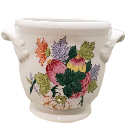 White & Floral Cachepot